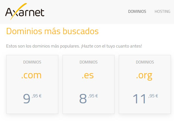 axarnet hosting web dominios populares