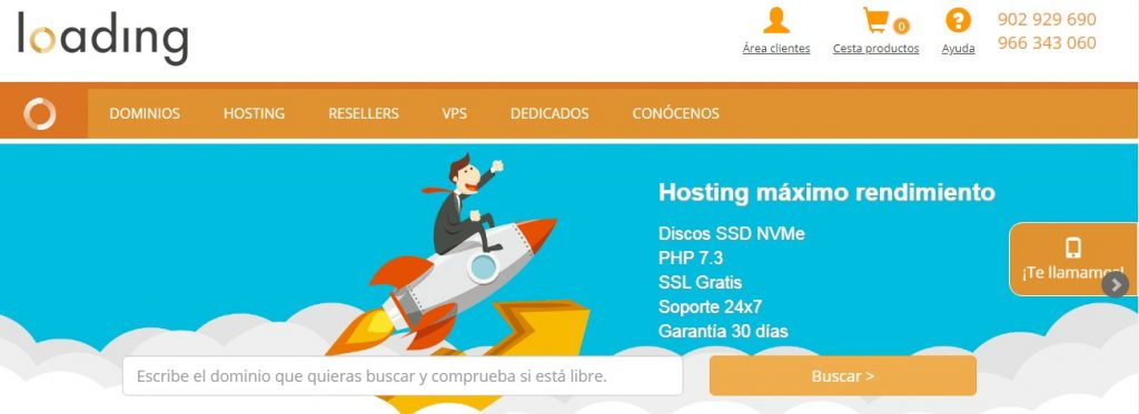 loading hosting servicio