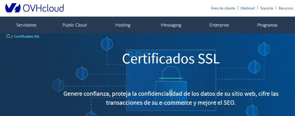 El certificado SSl viene incluído en los planes de este proveedor.