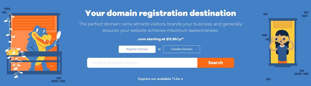 HostGator ofrece el registro de nombres de dominio por un precio bastante normal