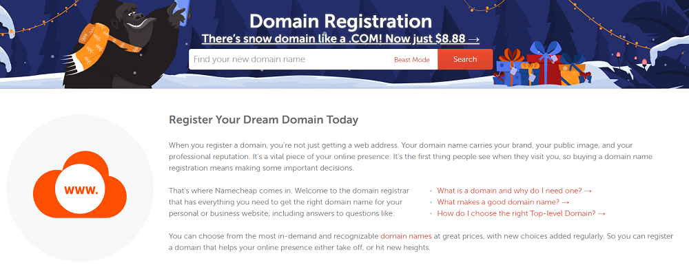 Namecheap cuenta con un servicio de registro de dominios de excelente calidad
