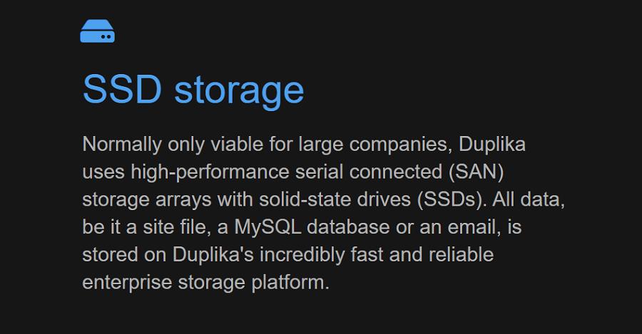 El espacio destinado al almacenamiento web para tu sitio web depende directamente del plan de servicio contratado en Duplika