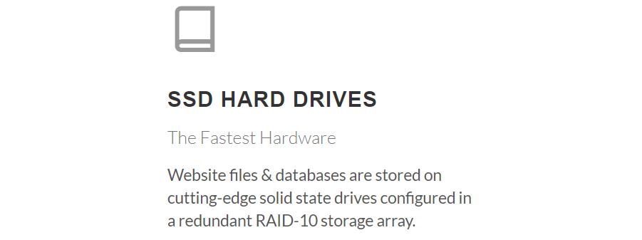 Todos los planes cuentan con almacenamiento SSD ilimitado para los sitios web hospedados