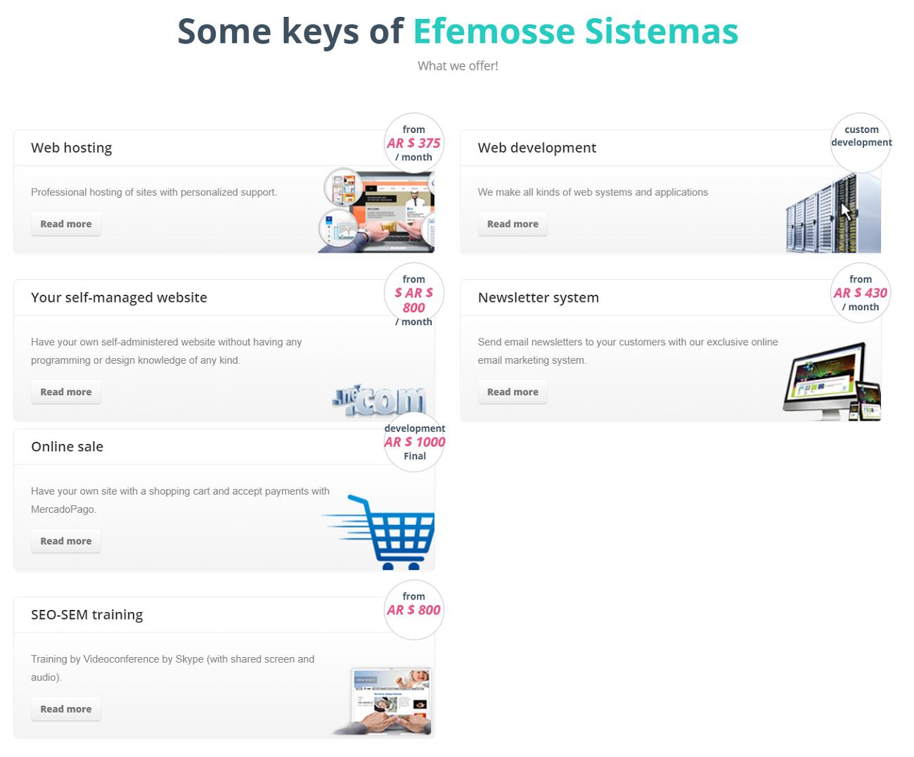 Efemosse Sistemas es uno de los proveedores de hosting o alojamiento en Argentina que ha demostrado ofrecer un excelente servicio