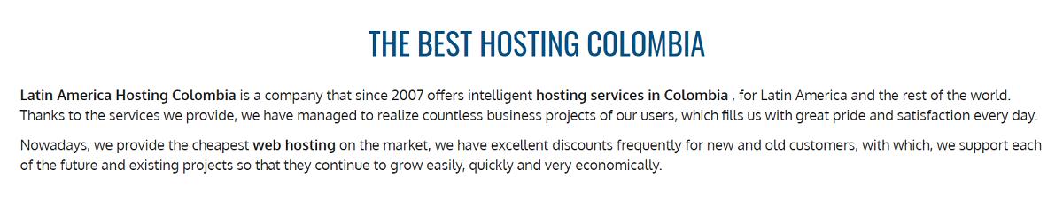 Latinoamérica Hosting es un proveedor de servicios inteligentes de alojamiento en Colombia que presta servicios como, alojamiento web, registro de dominio, servidores virtuales, webmail, WordPress, y cPanel