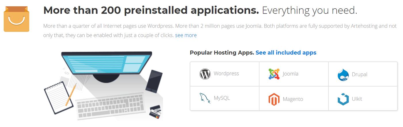 Disponer de aplicaciones gratuitas en tu sitio web alojado con Arte Hosting te proporcionará optimización y utilidad garantizada