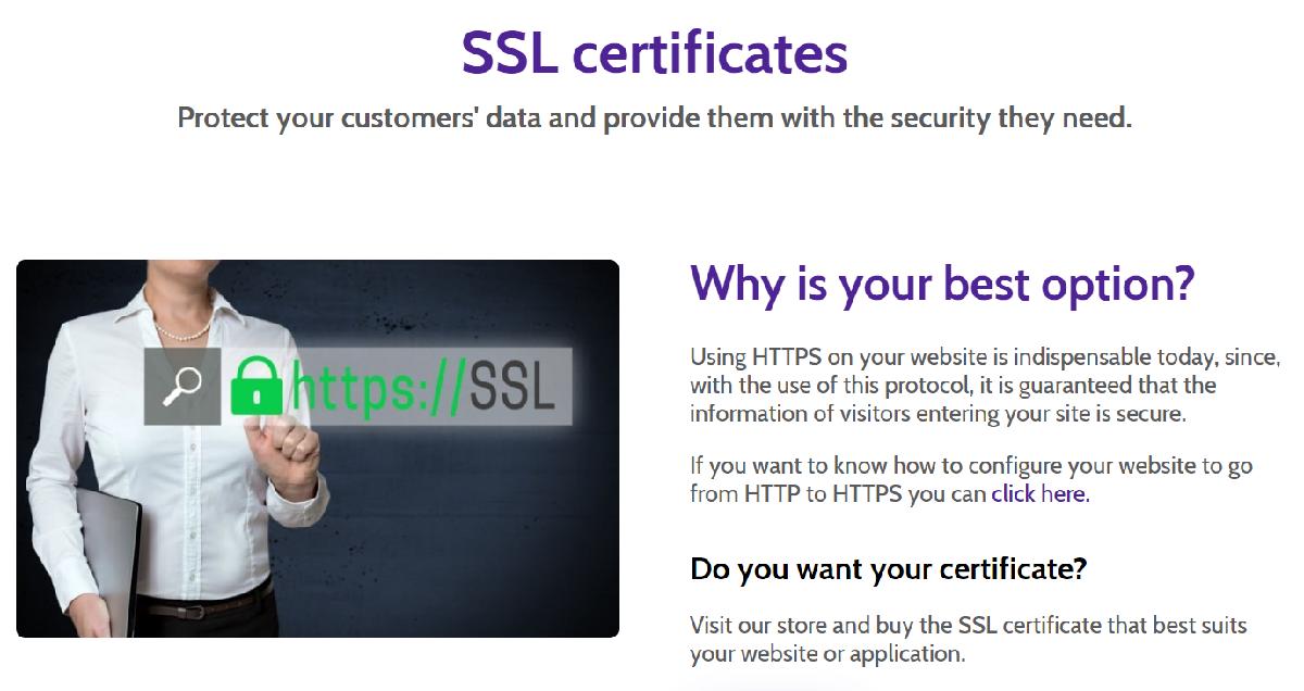 Todos los planes de Dongee cuentan con certificado SSL totalmente gratis