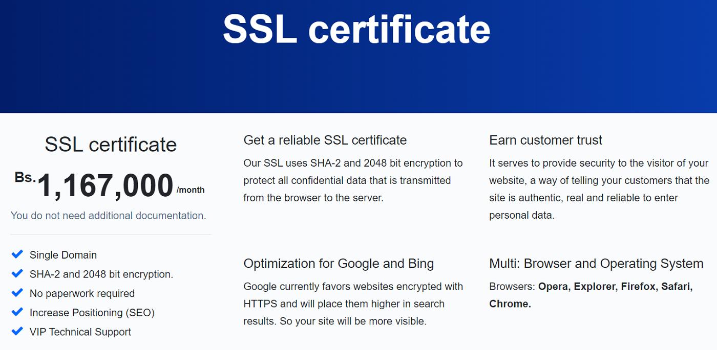 Hosting SSI ofrece certificado SSL para asegurar tu web, lo que es bastante beneficioso