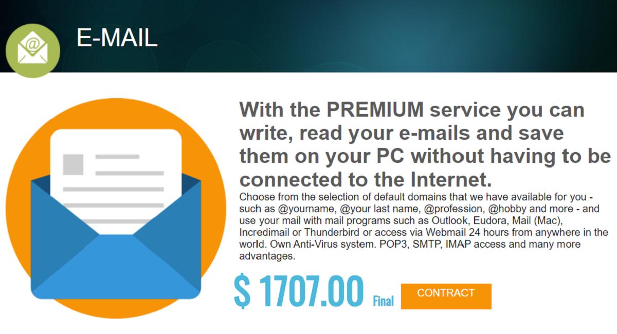 Contratando el servicio premium de este hosting se puede redactar, leer mail y guardarlos en la pc sin necesidad de una conexión a internet