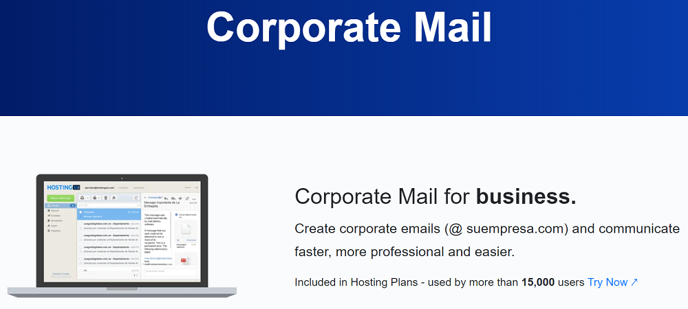 Este proveedor ofrece un correo profesional, es decir personalizar el la extensión de dominio con el Webmail conjuntamente en el servidor