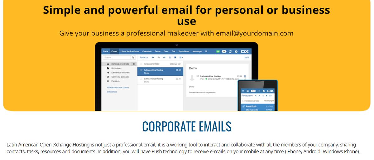 Este proveedor incluye cuentas de correo electrónico en todos sus planes, sin restricción