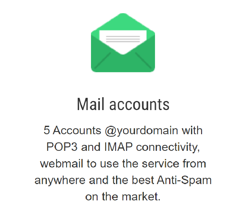 Con el servicio de alojamiento en el servidor de este proveedor pueden contar en todos sus planes con cuentas de mail disponibles en webmail