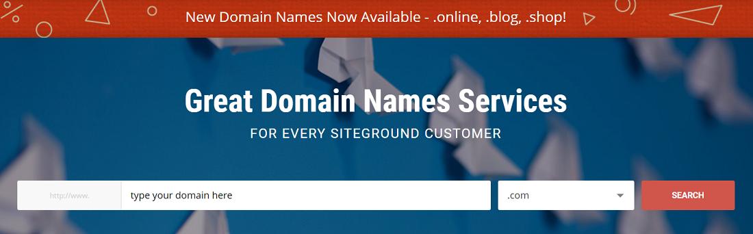 Siteground ofrece el servicio de registro de dominios con una gran variedad de extensiones