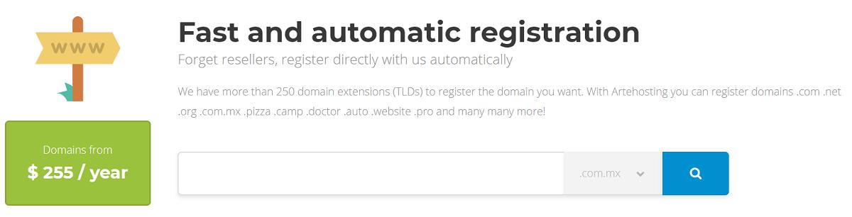Arte Hosting cuenta con un registro rápido y automático, cuentan con más de 250 extensiones de dominios (TLDs) para registrar