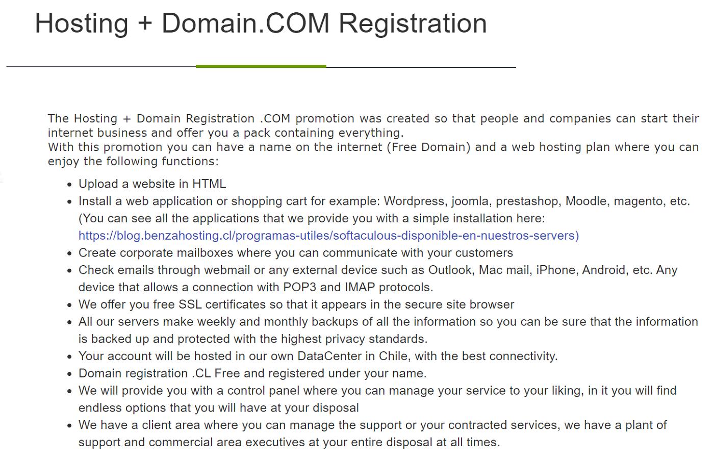 Benza ofrece dominios gratis al contratar un plan de hosting en servicios de alojamiento para páginas web en Chile