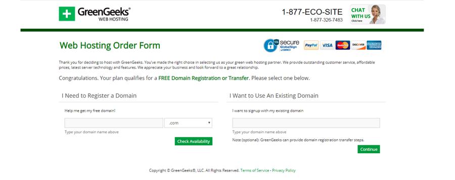 Greengeeks ofrece registros de dominio por un precio bastante normal, cuentan con muchas extensiones para todo tipo de proyectos