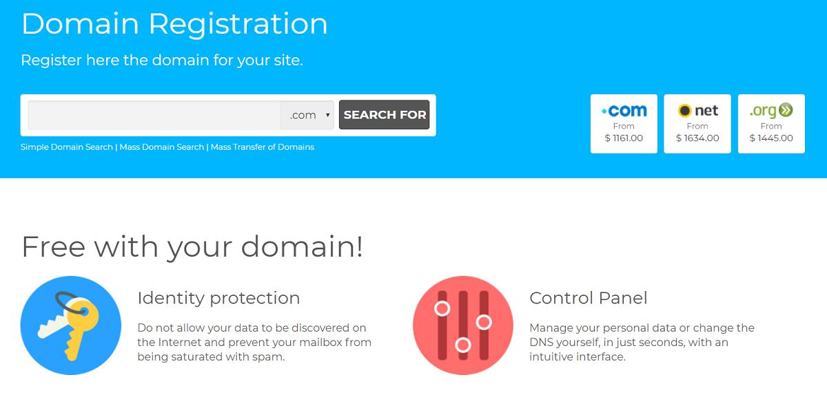 Los nombres de de dominio en este proveedor no cuentan con mucha diversidad