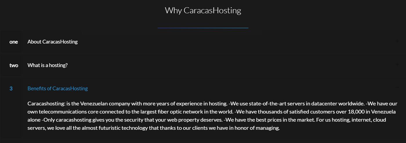 Caracas Hosting es una empresa de alojamiento web venezolana que lleva muchos años en el mercado