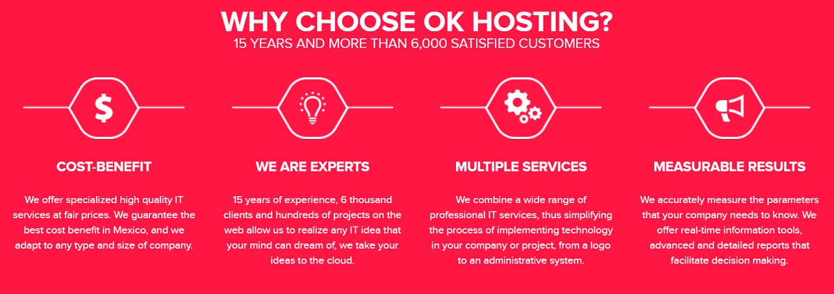 OK Hosting es un proveedor de servicios que ofrece una calidad asegurada en sus servidor