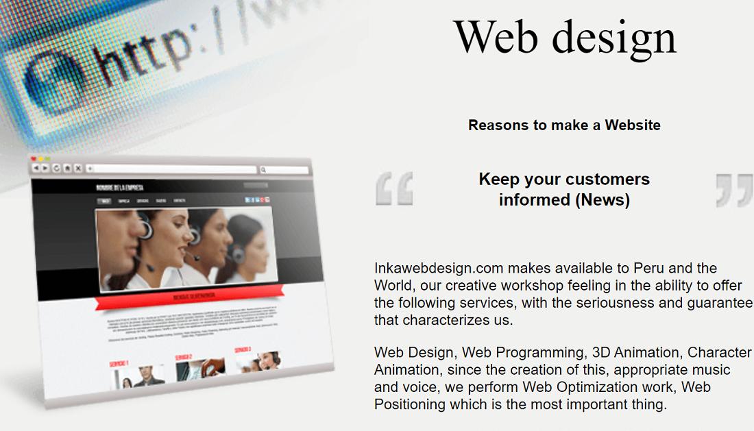 Inkawebdesign da soluciones para la creación de webs, programación web, optimización y posicionamiento,, otros