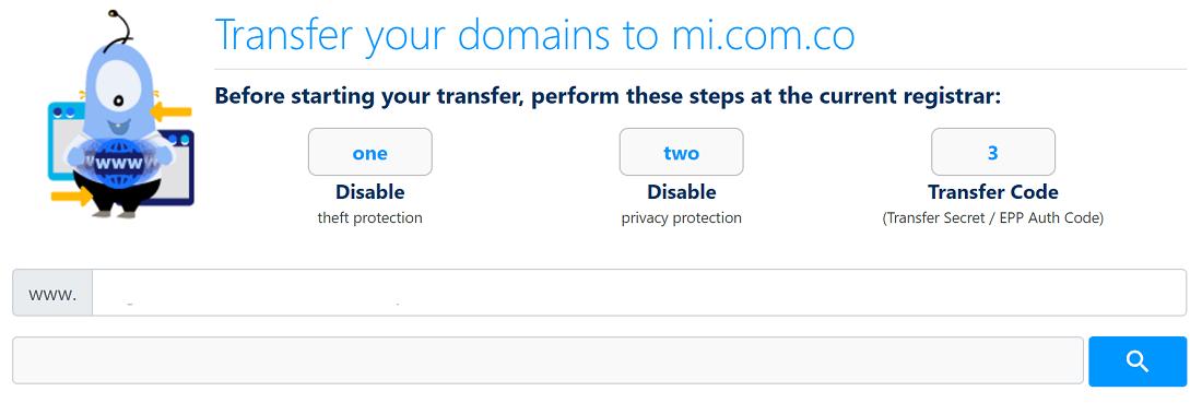 Ofrece un servicio muy bueno para transferir dominios a su servidor