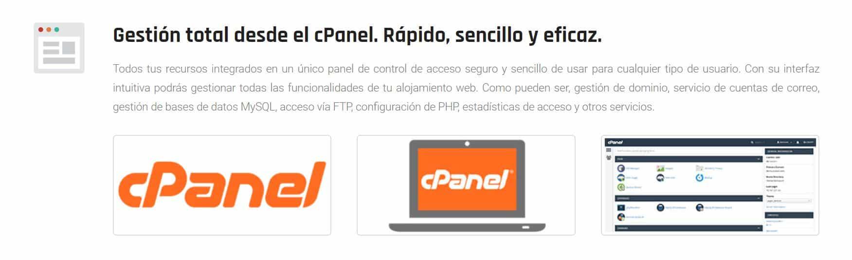Es posible utilizar este hosting con cPanel.