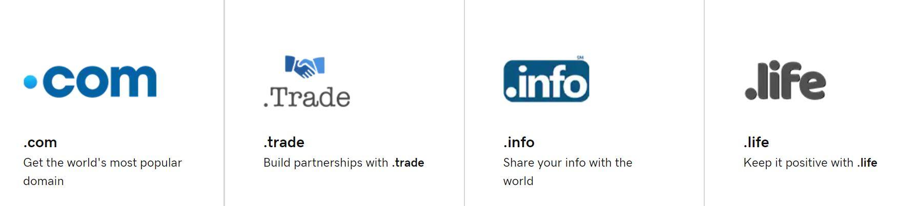 Exsiten diferentes opciones de nombres dentro de los registradores de dominios.