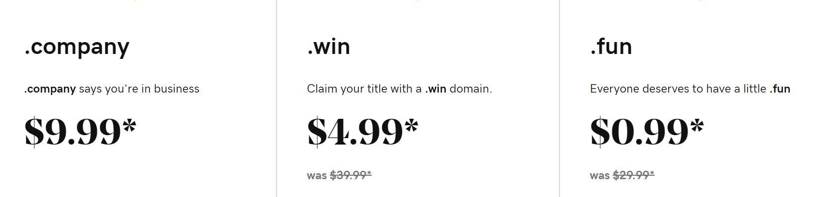 Los registradores de dominios te permiten elegir un dominio tienen diferentes precios en función de las prestaciones.