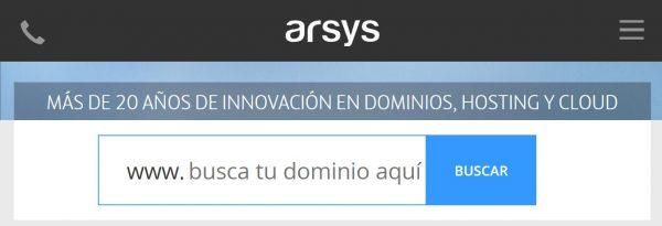 arsys hosting dominios
