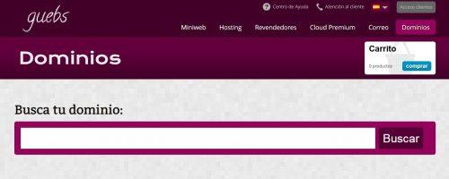 Guebs ofrece un buscador de dominio eficaz y sencillo de usar.