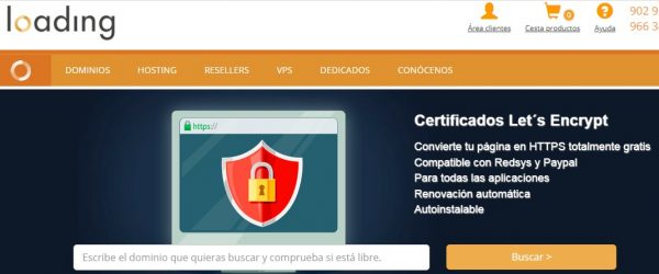 loading hosting certificado